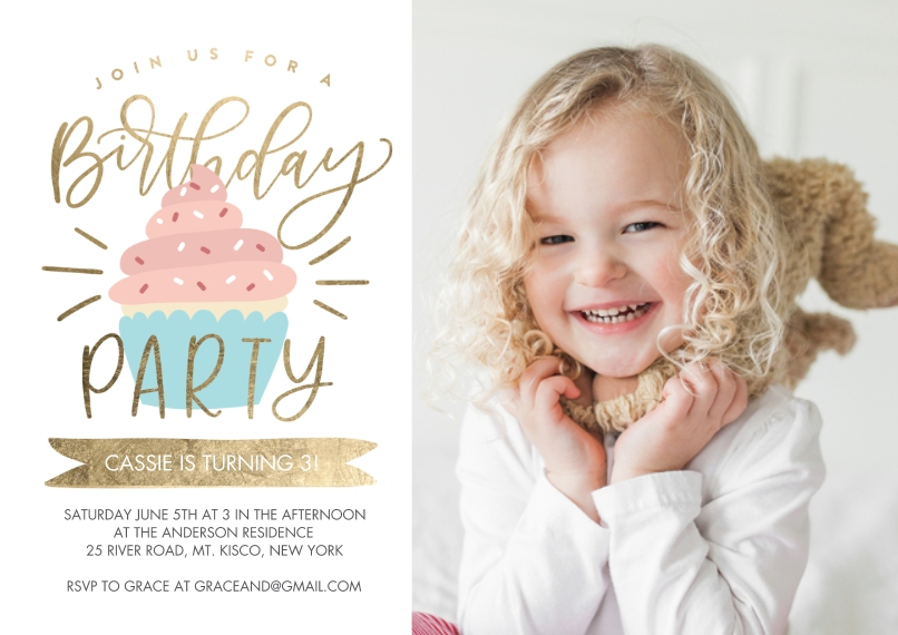 Kids Birthday Party 5x7 Cards, Premium Cardstock 120lb, Card & Stationery -Birthday Party Cupcake Sprinkles by Tumbalina