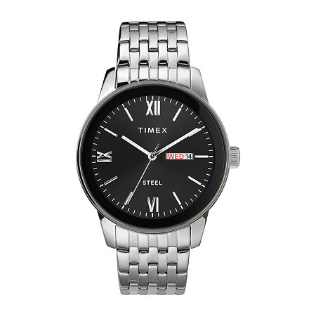 Timex Mens Silver Tone Stainless Steel Bracelet Watch-Tw2t50300ji, One Size , No Color Family