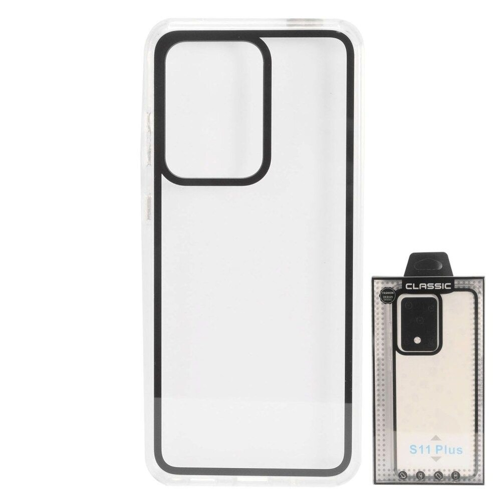 Insten Bumper Acrylic Transparent Plastic TPU Case For Samsung Galaxy S20 Ultra - Black (Black)