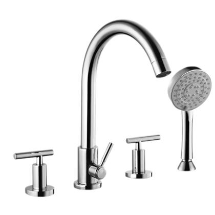 802.125.100 Arched Tubular Spout Chrome Two Handle Roman Tub Faucet and Hand