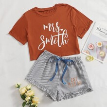 Letter Graphic Tee & Striped Ruffle Hem Shorts PJ Set