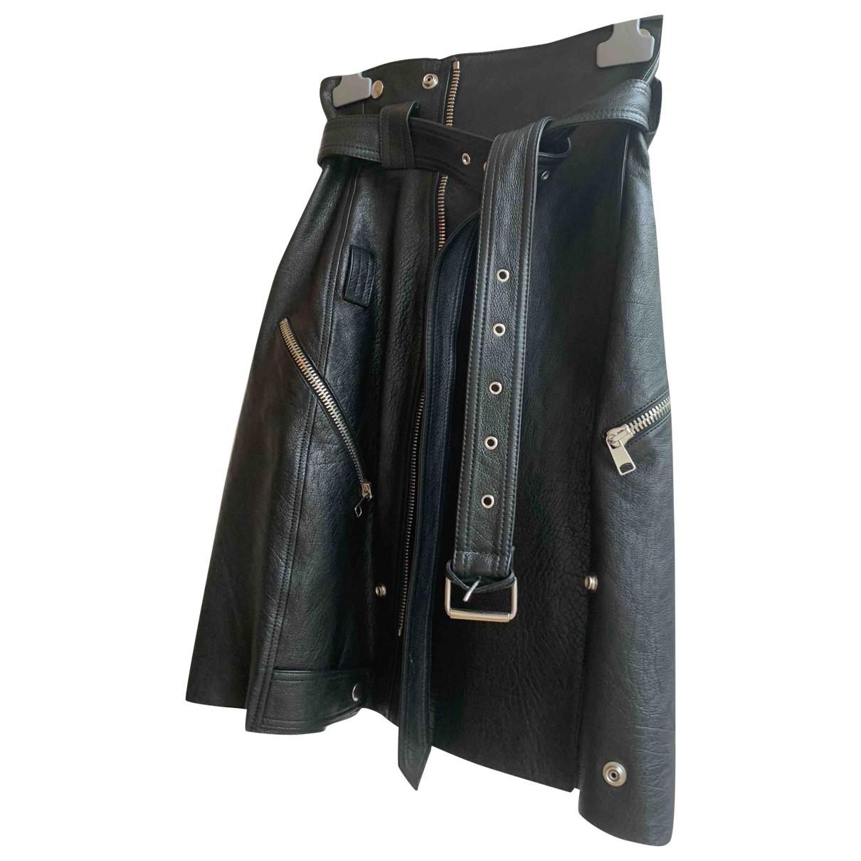 Alexander Mcqueen - Jupe   pour femme en cuir - noir
