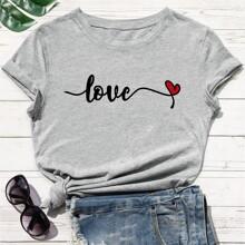 T-Shirt mit Buchstaben & Herzen Muster und rundem Kragen