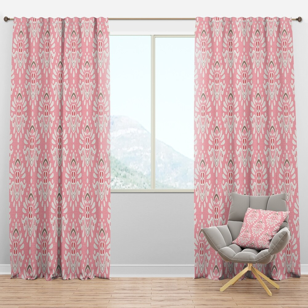 Designart 'Cute Pink Tiled Pattern' Rustic Curtain Panel (50 in. wide x 108 in. high - 1 Panel)