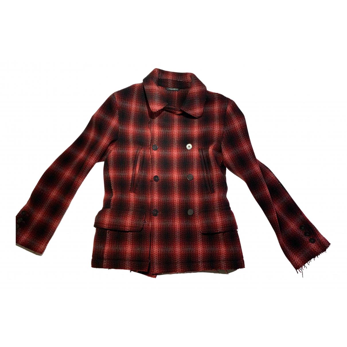 Dolce & Gabbana - Manteau   pour homme en laine - rouge
