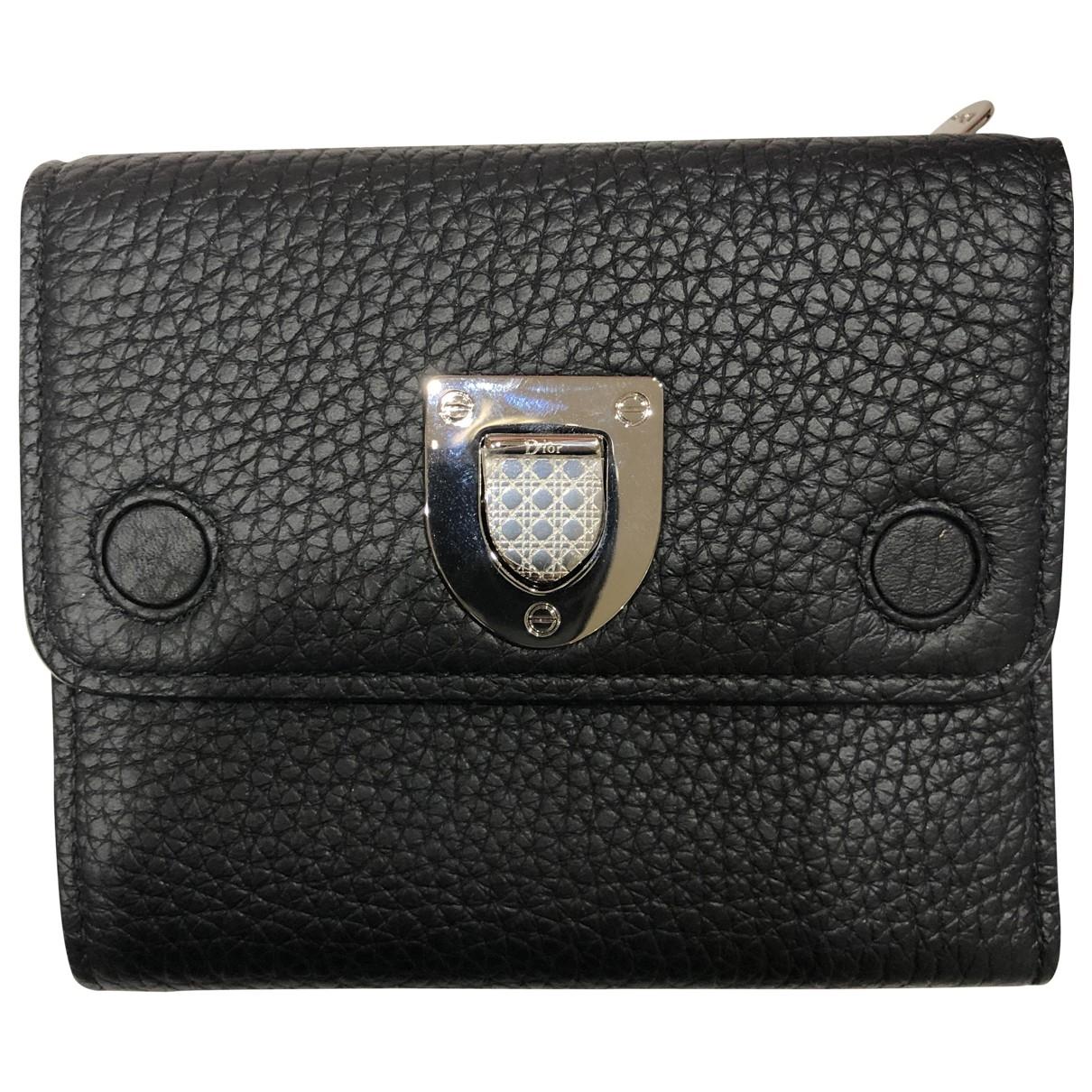 Dior - Portefeuille Diorama pour femme en cuir - noir