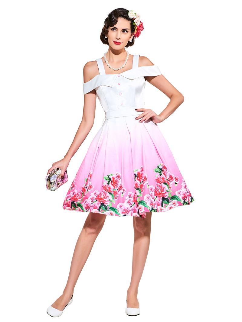 Ericdress Vintage Sleeveless Print A-Line Dress