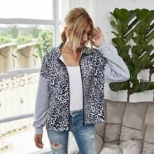 Leopard Print Zip Up Drop Shoulder Sweatshirt