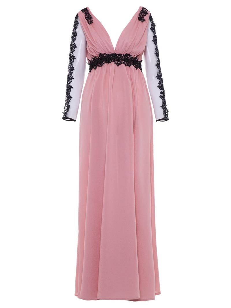 Ericdress V-Neck Backless Mesh Expansion Maxi Dress