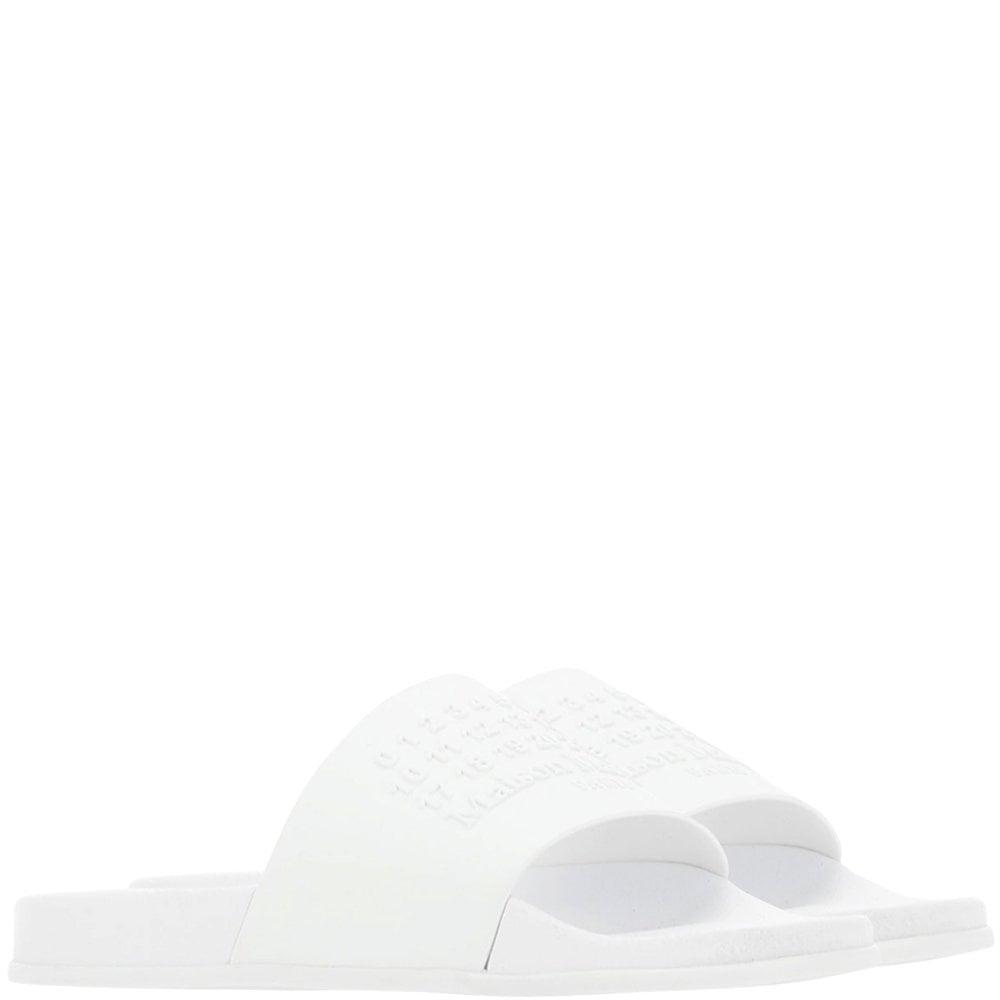 Maison Margiela Number Logo Shower Sliders Colour: WHITE, Size: 8