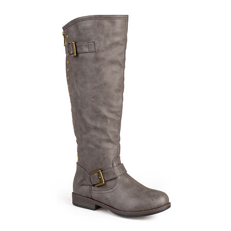 Journee Collection Womens Spokane Studded Riding Boots, 6 Medium, Brown