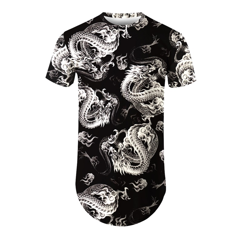 Modern Round Neck Dragon Pattern 3D Painted T-Shirt