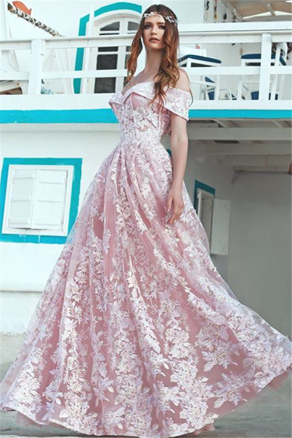 Jolie rose hors de lepaule robes de soiree pas cher | Nouveau en dentelle longue robe formelle