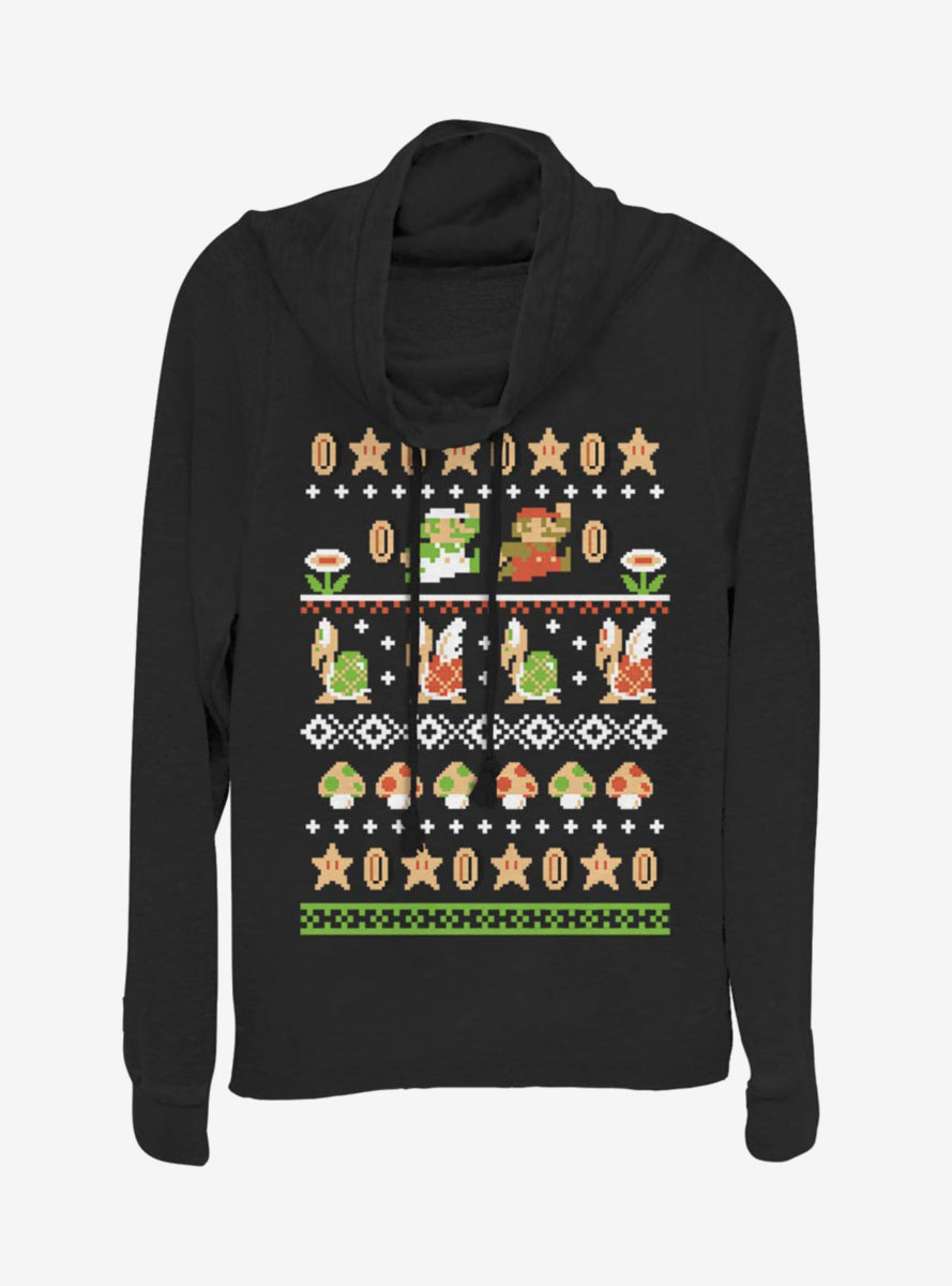 Nintendo Super Mario Christmas Pattern Cowlneck Long-Sleeve Womens Top
