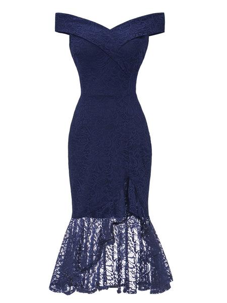 Milanoo Lace Dresses Burgundy Bateau Neck Short Sleeves Asymmetrical Lace Retro Dresses
