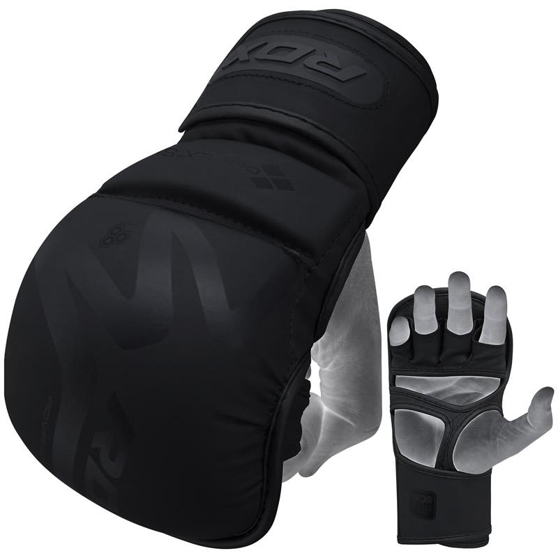 RDX T15 Noir Guantes de Sparring MMA Cuero PU Negro Grande