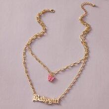 1 Stueck Mehrschichtige Halskette mit Schmetterling Design und Kette