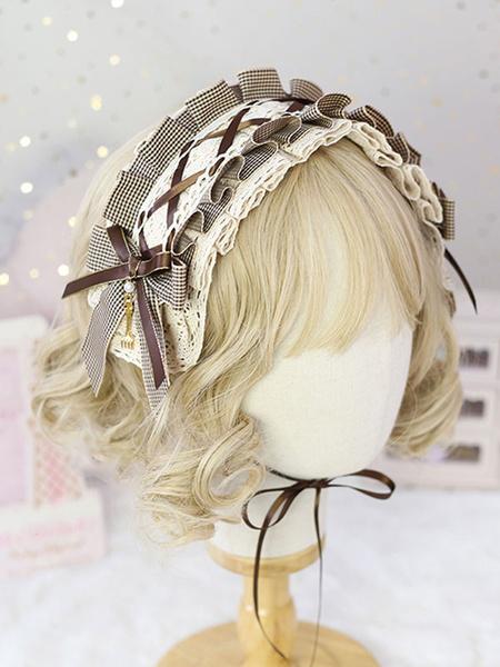 Milanoo Sweet Lolita Headdress Black LaceBows Plaid Headband