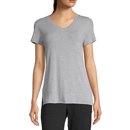 Ambrielle Womens Knit Pajama Top V Neck, Small , Gray