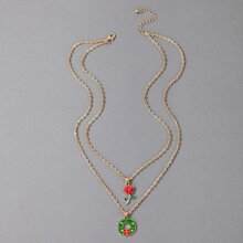 Christmas Wreath Charm Layered Necklace