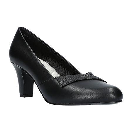 Easy Street Womens Casper Pumps Spike Heel, 7 Wide, Black