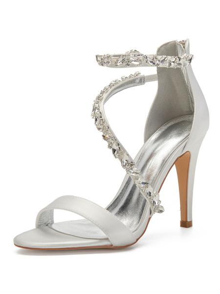 Milanoo Ivory Wedding Shoes Satin Rhinestones Open Toe Stiletto Heel Bridal Shoes