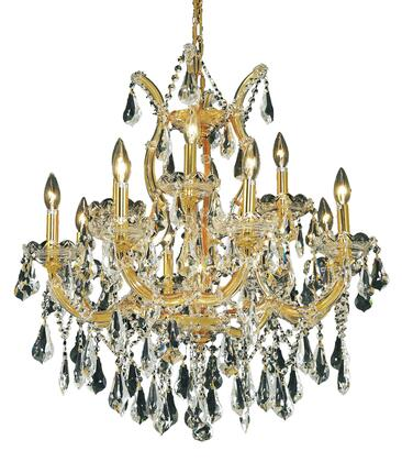 2801D27G/SS 2801 Maria Theresa Collection Hanging Fixture D27in H26in Lt: 8+4+1 Gold Finish (Swarovski Strass/Elements