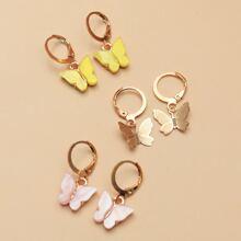 3pairs Butterfly Drop Earrings