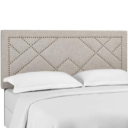Reese Collection MOD-5844-BEI Nailhead Full / Queen Upholstered Linen Fabric Headboard in Beige