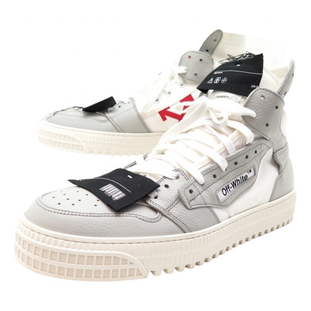 Off-white \N Grey Leather Trainers for Kids 38 FR