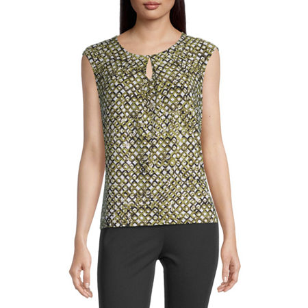 Black Label by Evan-Picone Womens Keyhole Neck Sleeveless Blouse, X-large , Green