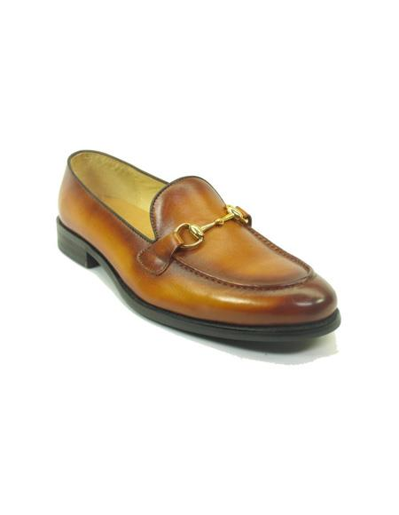 Mens Slip On Leather Loafers by Carrucci - Cognac