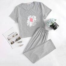 Stripe & Floral Pattern PJ Set