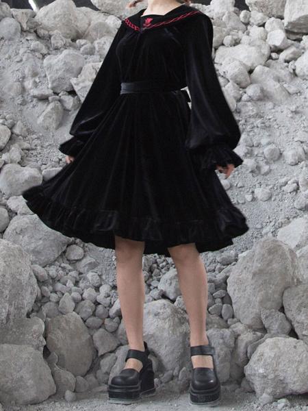 Milanoo Gothic Lolita OP Dress Velour Long Sleeve Lolita One Piece Dress