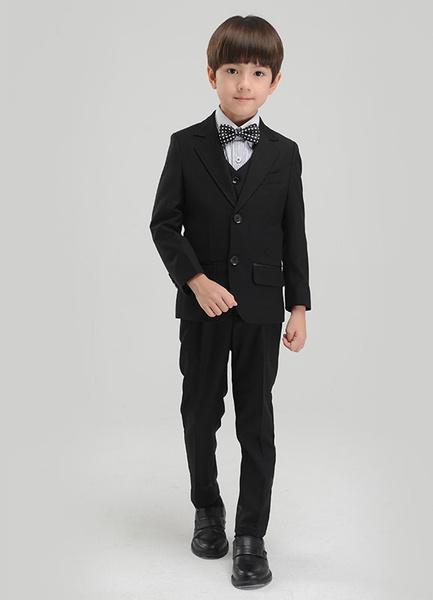 Milanoo Boy Suit Set Black Kids Formal Wear Pants Waistcoat Shirt Bow Tie Jacket Tuxedo Wedding Ring Bearer Suits 5 Pcs