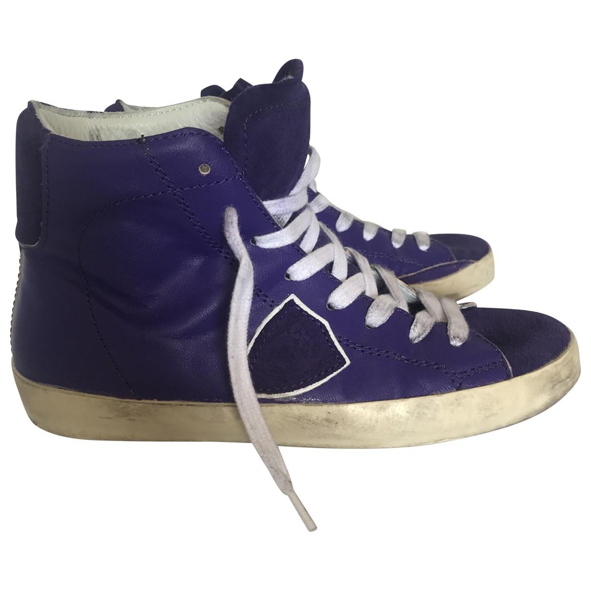 Philippe Model \N Sneakers in  Lila Leder