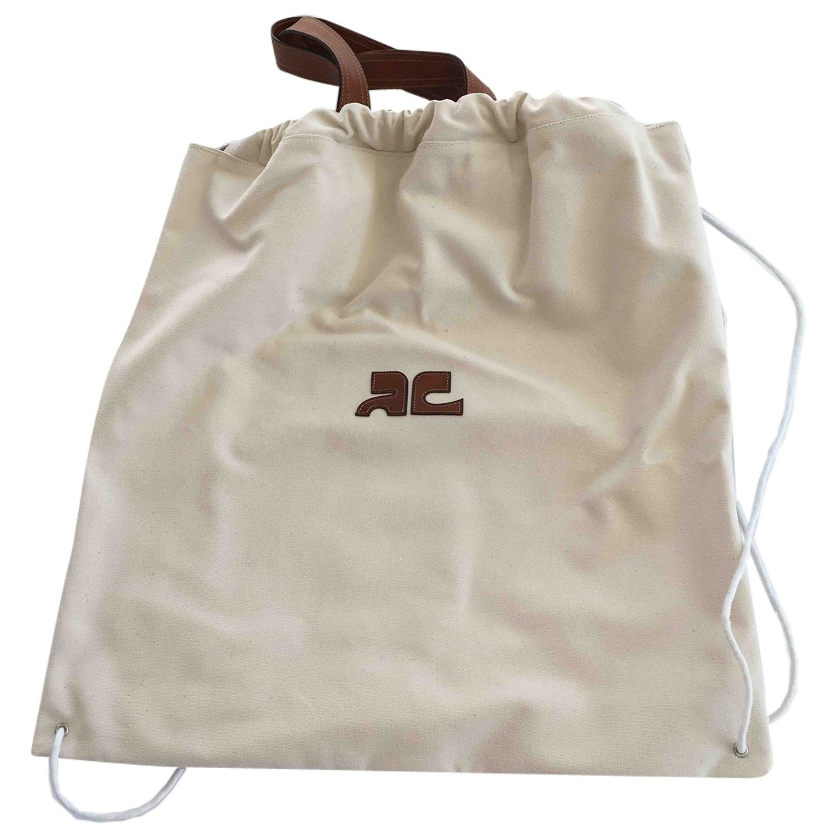 Courreges \N Handtasche in  Beige Baumwolle