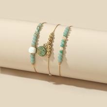 3pcs Round Charm Beaded Bracelet