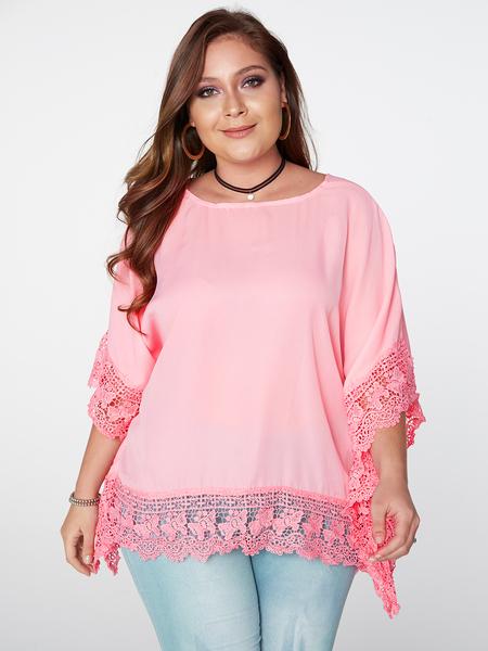 Yoins Plus Size Pink Lace Splicing Bat Sleeves Blouse