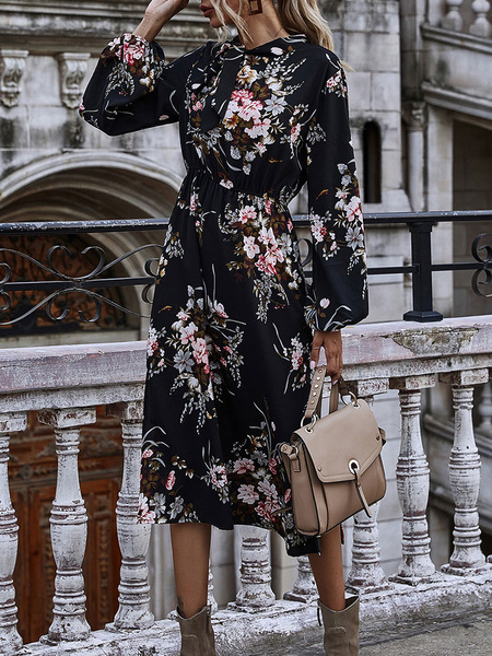 Milanoo Floral Printed Dresses Black Women Desinged Neck Long Sleeve Slim Fit Flare Dress