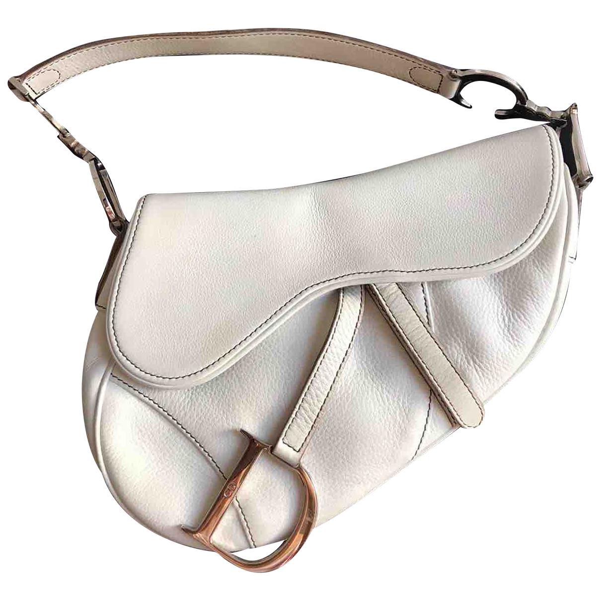 Dior Saddle Handtasche in  Ecru Leder