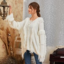 Solid Fringe Tie Neck Slouchy Sweater