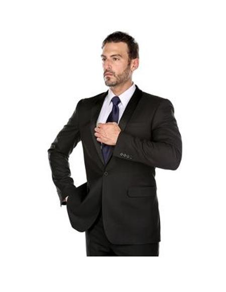 Verno Men's Black Solid Pattern Slim Fit Polyester Suit