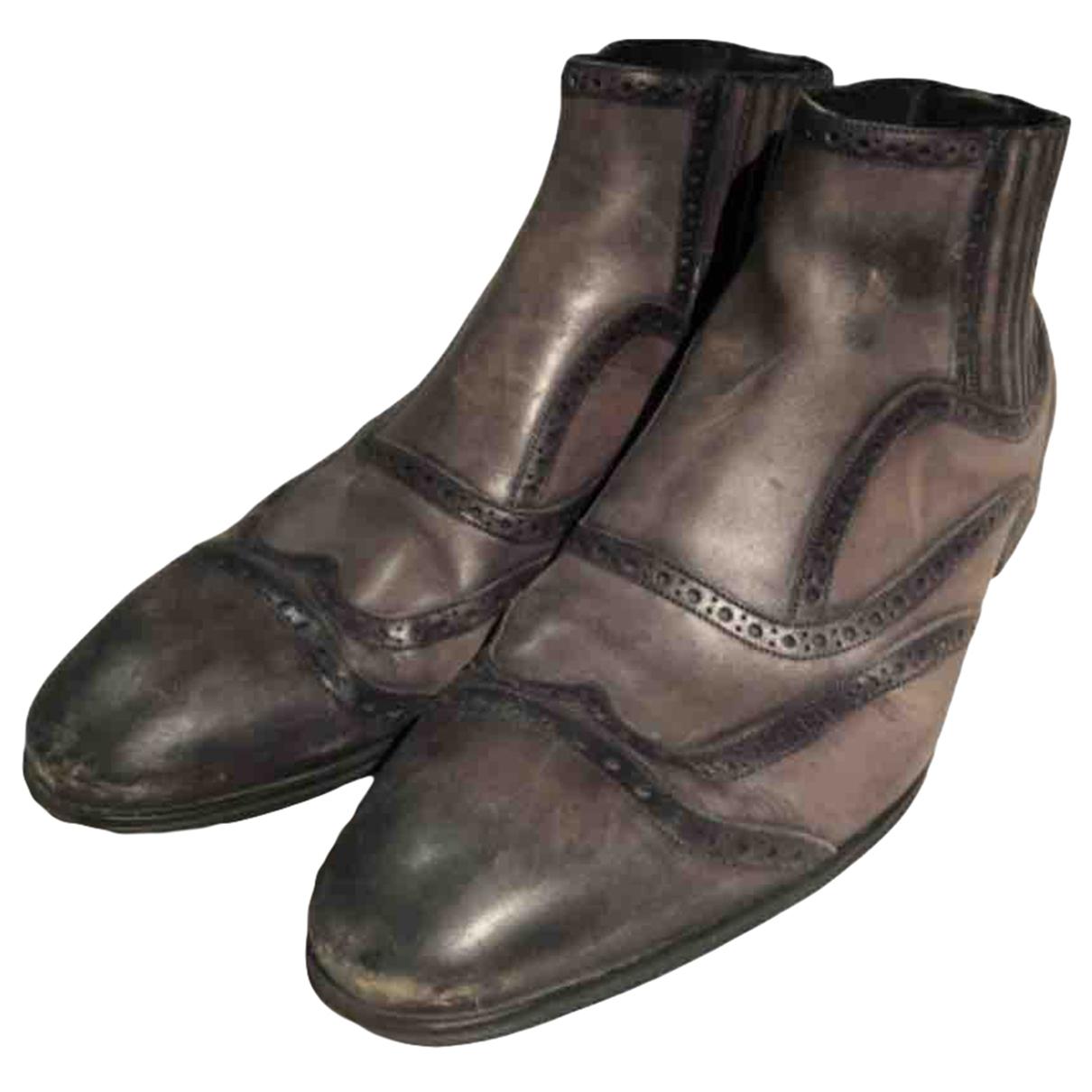 Dolce & Gabbana \N Stiefel in  Anthrazit Leder