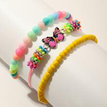 3 Stuecke Maedchen Armband mit Schmetterling Dekor