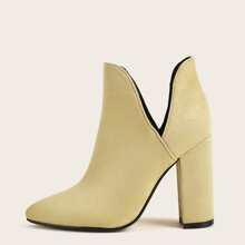 Minimalist Cut Out Chunky Heeled Boots