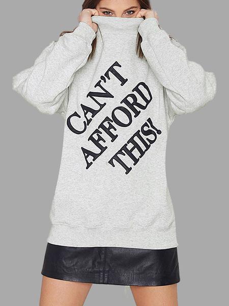 Yoins High Neck Letter Printing Sweatshirt