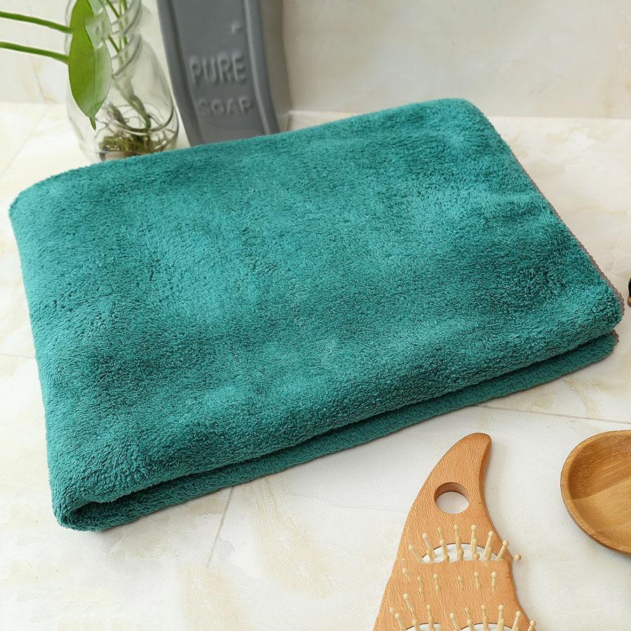 Plain Pattern Coral Fleece Rectangular Quick-Dry Bath Towel