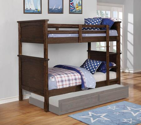 Dalton Collection 460555 Twin Size Bunk Bed with Built-In Ladder  Subtle Molded Detailing and Sturdy Wood Construction in Country
