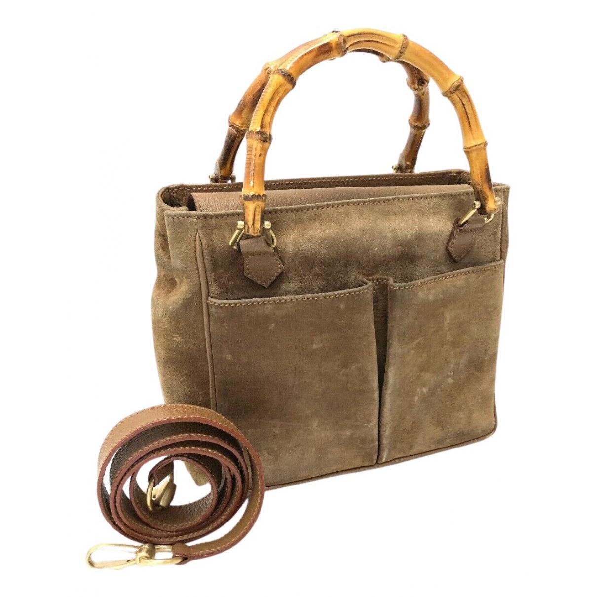 Gucci Bamboo Handtasche in  Braun Veloursleder